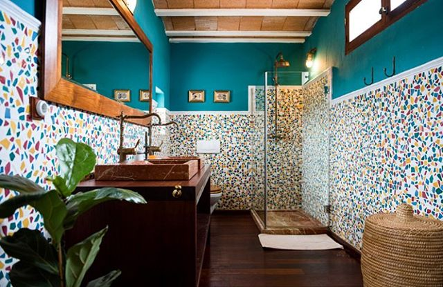 Bathroom Bonanza {Room 1}🌿 #green #bathroom #mosaics #ensuite #vintage #rustic #stylish #design #interiors #boutiquevilla #finca #ibicenca #casapayesa #stylishliving #ibiza {ph. by @sofiagomezfonzo} 🗝